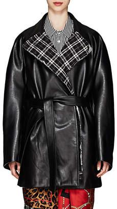 Balenciaga Women's Leather Oversized Wrap Coat - Black