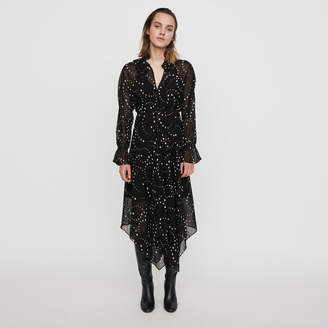 Maje Printed-muslin scarf dress
