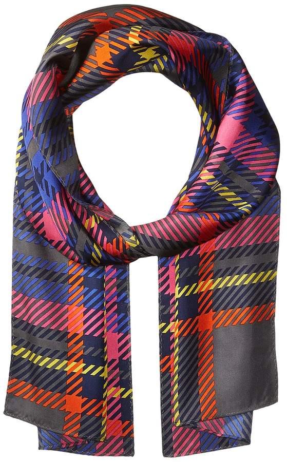 Echo Design - Graphic Plaid Silk Oblong Scarf Scarves