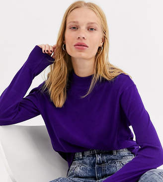 Monki high neck lighweight sweater in purple