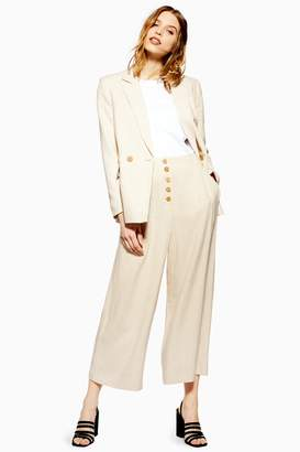 Topshop Womens Cropped Wide Leg Trousers - Oatmeal