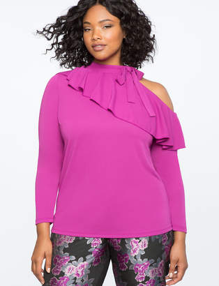 ELOQUII Cutout Shoulder Ruffle Top with Tie Neck