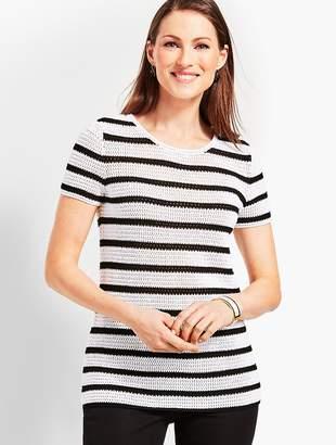 Talbots Crochet-Stripe Crewneck Sweater
