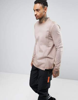 Asos Design Oversized Long Sleeve T-Shirt With Woven Panels And Pigment Wash