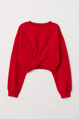 H&M Tie-detail Sweatshirt - Red