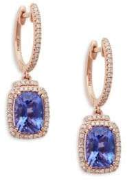 Effy 14K Rose Gold Tanzanite & Diamond Hoop Drop Earrings