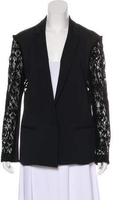 DREW Lace-Accented Button-Up Blazer