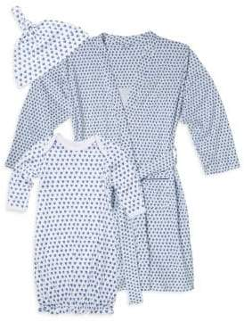 Roller Rabbit Baby's Three-Piece Hearts First Day Cotton Hat, Adult Robe & Gown Set
