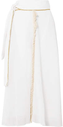 Zeus+Dione ZeusDione - Petala Fringed Plissé Cotton And Silk-blend Skirt - Ivory