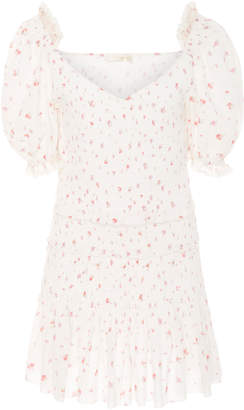 LoveShackFancy Tina Smocked Floral Cotton Mini Dress