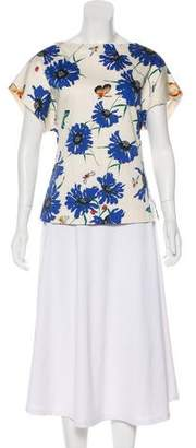 Vionnet Floral Print Short Sleeve Top