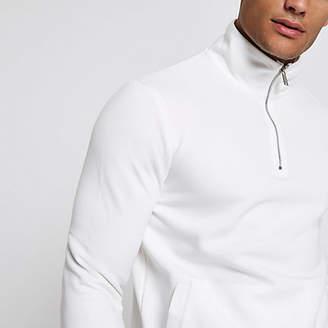 River Island White zip-up funnel neck sweatshirt