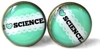 Factory Snark Science Lover Mint Green I Love Science Stud Earrings