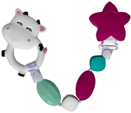 White & Green Beaded Cow Teething Clip
