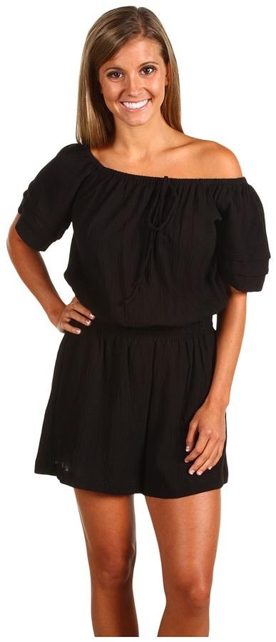 French Connection Cotton Off Shoulder Romper (Black) - Apparel
