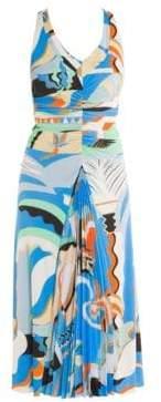 Emilio Pucci Women's Jersey La Villa Ruched Front Dress - Blue Orange - Size 38 (8)