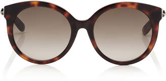 Jimmy Choo ASTAR Dark Havana Oversized Sunglasses with Gold Star Detailing