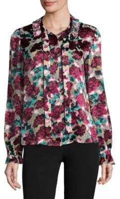 Saloni Emile Floral Silk-Blend Blouse
