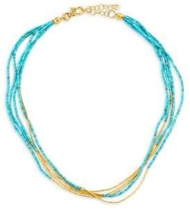 Gurhan Five-Strand 24K Yellow Gold& Turquoise Necklace