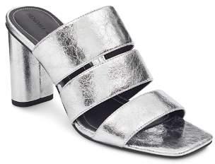 KENDALL + KYLIE Women's Leila Metallic Leather Block Heel Slide Sandals