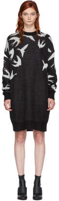 McQ Black and White Swallow Swarm Dress