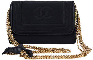 One Kings Lane Vintage Chanel Black Silk Multi-Chain Bag - Vintage Lux