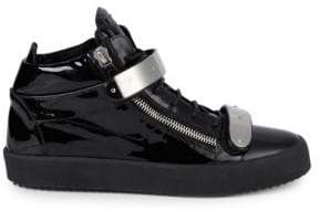 Giuseppe Zanotti Patent Leather Double Bar High-Top Sneakers