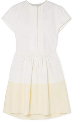 Chloé Pintucked Linen And Silk Crepe De Chine Mini Dress - White