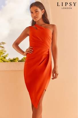 2921c843ebf5 Lipsy One Shoulder Pleated Assymmetric Midi Dress - 20 - Orange