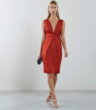 Reiss MOSAIC TWIST FRONT DRESS Desert Red