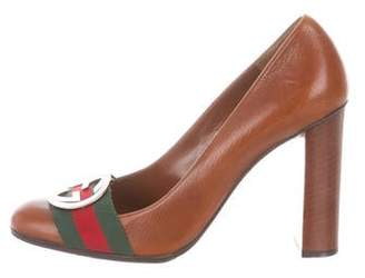 Gucci Leather Round-Toe Pumps