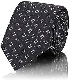 Barneys New York Men's Floral Silk-Cotton Necktie - Charcoal