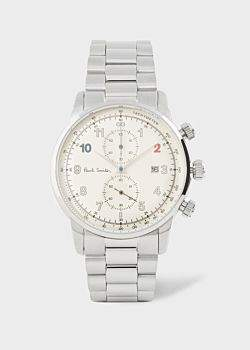 Paul Smith Men's Off-White And Stainless Steel 'Block' Chronograph Watch