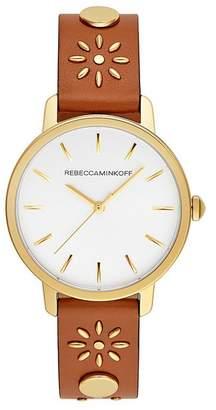 Rebecca Minkoff Bffl Gold Tone Almond Studded Strap Watch, 36Mm