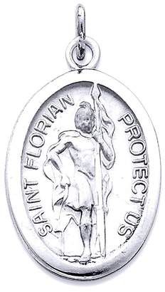 Florian JE Sterling Silver Rhodium-plated Saint Medal