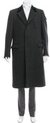 Barneys New York Barney's New York Herringbone Wool Overcoat