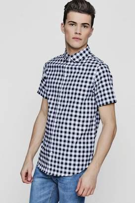 boohoo Slim Checkerboard Short Sleeve Shirt