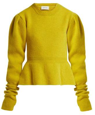 Lemaire Peplum Hem Ribbed Knit Wool Sweater - Womens - Yellow