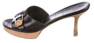 Chanel Leather CC Slide Sandals