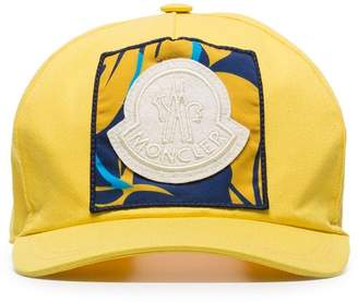 89a17c55 Moncler yellow logo patch embroidered cotton baseball cap