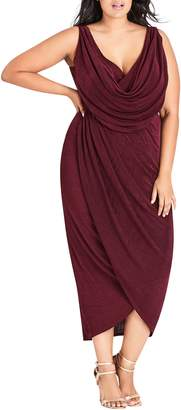 City Chic Draped Sleeveless Dress