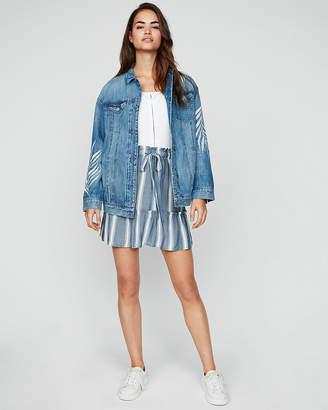 Express Striped Ruffle Sash Tie Mini Skirt