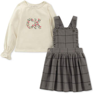 Calvin Klein 2-Pc. Logo-Print T-Shirt & Plaid Pinafore Dress Set