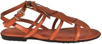 Tod's Logo Fringed Flat Sandals