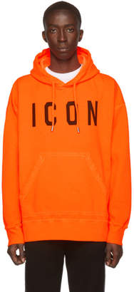 DSQUARED2 Orange Fluo Dyed Icon Hoodie