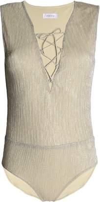 Anine Bing Lace-up Metallic Ribbed Stretch-jersey Bodysuit