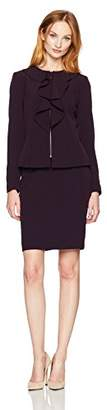 Tahari by Arthur S. Levine Women's Ruffle Front Zip Skirt Suit