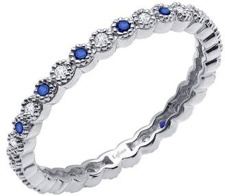 Lafonn Platinum Plated Sterling Silver Bezel Set Simulated Diamond & Simulated Blue Sapphire Scalloped Eternity Band