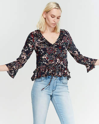 Jessica Simpson Floral V-Neck Ruffle Blouse
