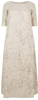 Marina Rinaldi Embroidered Jacquard Gown